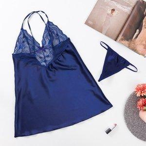 Women's navy blue lace nightdress with thongs - Belizna