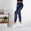 Women's navy blue sweatpants with inscriptions - Clothing